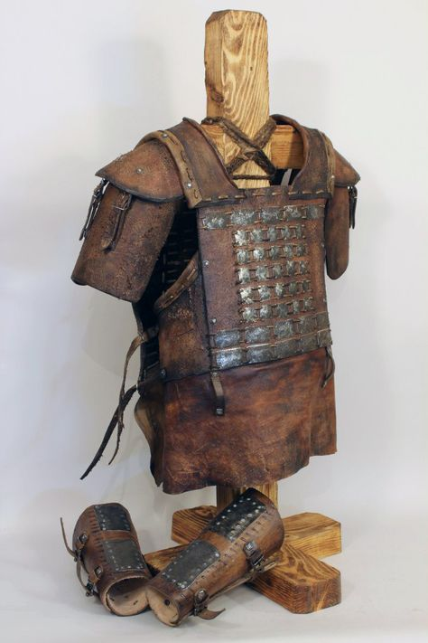 Viking Leather Armor mini set [Cuirass with Pauldrons + Vambraces] artificial aging, medieval сostume; leather armor; body armour; armor set