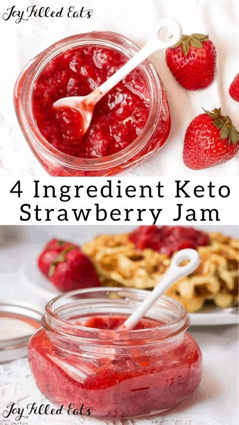 Strawberry Jam - Low Carb, Low Fat, Keto Friendly, THM FP, Grain Gluten Dairy Sugar Egg Free - Fresh Strawberry Jam is delicious on just about everything. It takes about ten minutes and four ingredients. Jelly Recipes, Sugar Free Recipes, Canning Recipes, Ketogenic Recipes, Low Carb Recipes, Galletas Keto, Strawberry Jam Recipe, Strawberry Recipes For Diabetics, Sugar Free Strawberry Jam