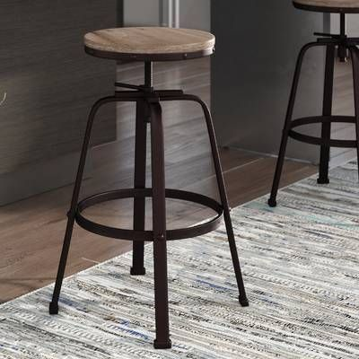 Mullings Adjustable Height Bar Stool Farmhouse Bar Stools Bar