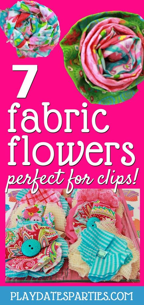 Put those fabric scraps to use and learn how to make DIY handmade fabric flowers for clips or any other project. These 7 easy tutorials are perfect for party activities, party favors, headbands, or hair clips. The possibilities are endless! #fabricflower #fabricflowers #DIY #diycrafts #howto #crafts #sewing