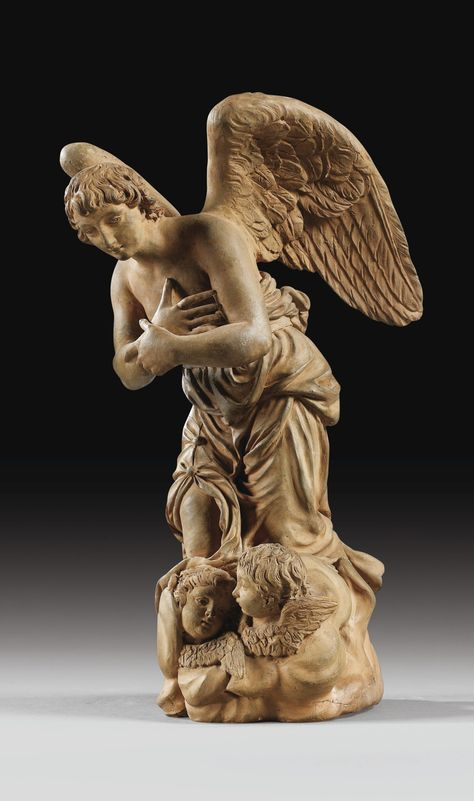 A FLEMISH, 1767-72, TERRACOTTA FIGURE OF AN ANGEL OF ANNUNCIATION, ATTRIBUTED TO GILLES-LAMBERT GODECHARLE (1751-1835), AFTER A MODEL BY LAURENT DELVAUX (1696-1778)