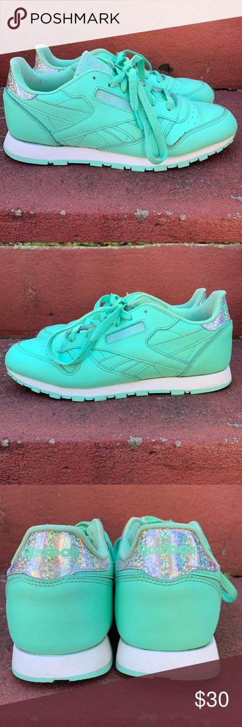 Reebok Reebok Classic Leather Pastel Sneaker. Gently used. Awesome  monochromatic mint green color with fa880b4a2