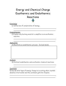 Worksheet Or Review Covering Law Of Conservation Of Energy Exothermic And Endothermic Reactions Answer Key Included Chemical Changes Energy Reactions