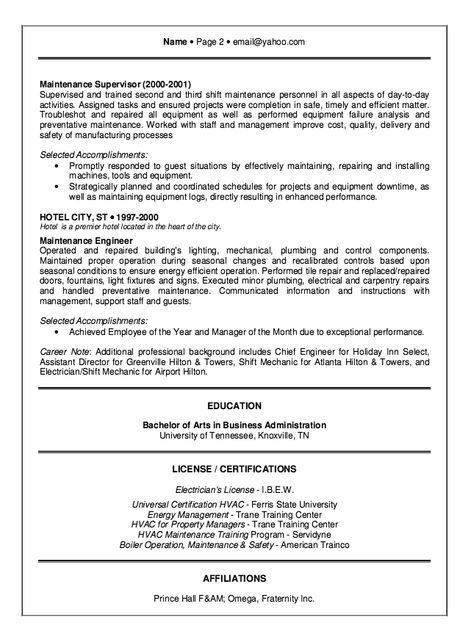 Hotel Engineer Resume Example - http\/\/resumesdesign\/hotel - examples of electrician resumes