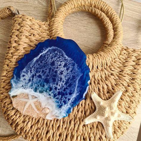 Sea coaster from epoxy resin. #handmade #resin #resinart #epoxyresin #coaster #sea #seashore #seaside