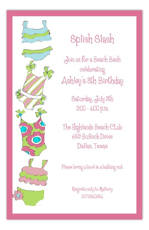 Adding this Bathing Suits Galore Invitation from Picture Perfect to any pool or summer party bumps your cool parent points up by at least 5. Just sayin'...