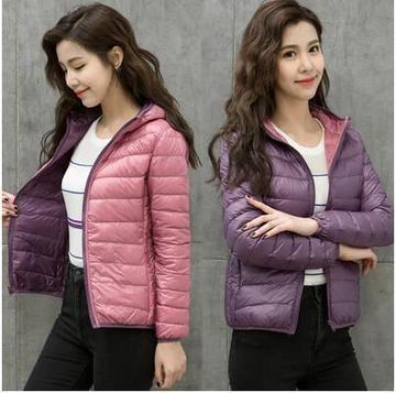 Women Ultra Light Down Jacket Double Side Reversible Jackets Plus Size 4xl Feather Jacket Women With Carry Jackets For Women Feather Jacket Reversible Jackets