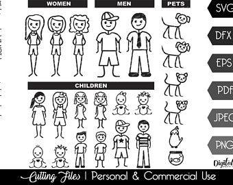 10 Pack Stick Figures Svg File Stick Boy Clipart Stick Girl Png Stick People Vectors Jpeg Stick People Children For Cricut Stick Family Stick Figures Svg