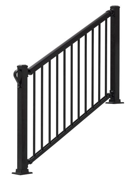 3 Ft H X 6 Ft W Summit Straight Railing Vinyl Railing Stair   3 Step Outdoor Railing   Matte Black   Simplified Building   Aluminum Railing   Front Porch   Handrail Picket