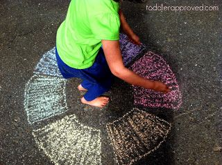 Toddler Approved!: Sidewalk Simon: Colors of The Rainbow Learning Activity