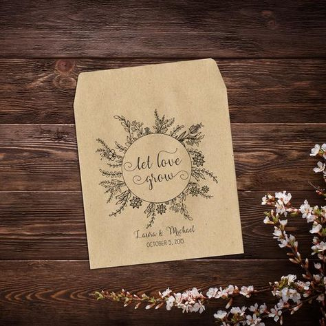 Let Love Grow Seed Packet Personalized Wedding #seedpackets #seedfavors #weddingfavors #weddingseedfavor #rusticweddingfavor #gardenwedding #woodlandwedding #wildflowerseeds #brownenvelopes #letlovegrow #seedpacketfavor #flowerseedpackets #customseedpackets
