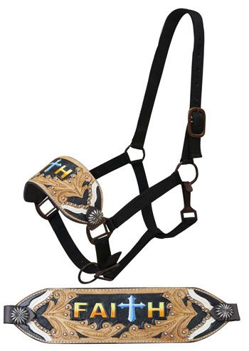 "Showman Black Bronc Halter With Painted ""Faith"" And Filigree Tooling 