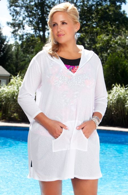 this plus size cover up is made of sheer onionskin fabric, is soft