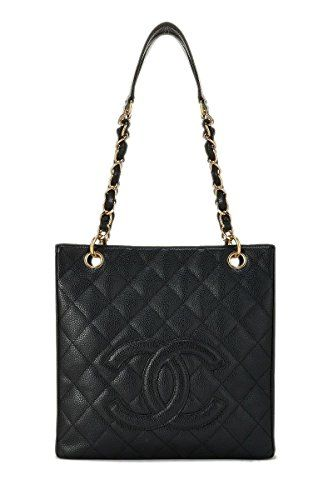 2850 Chanel Black Quilted Caviar Petite Shopping Tote Pst