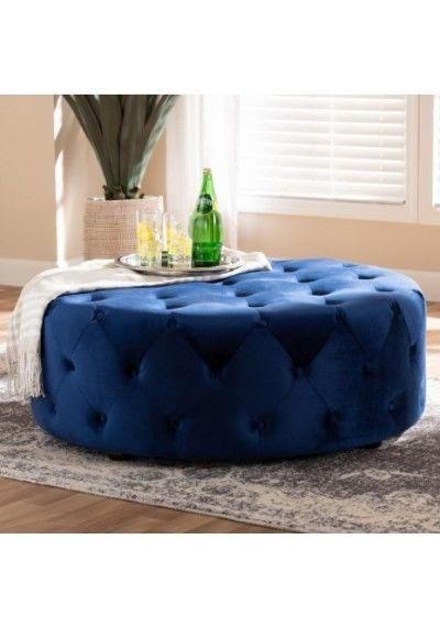 Blue Velvet All Over Tufted Round Coffee Table Ottoman Cocktail Ottoman Blue Velvet Fabric Ottoman