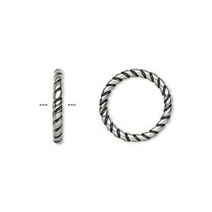 Jump Ring Antiqued Stainless Steel 15 5mm Soldered Twisted Round 11 5mm Inside Diameter 12 Gauge Sold Per Pkg Of 2 Steel Stainless Steel Antiques