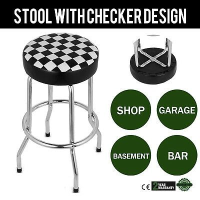 Ebay Advertisement 1x Shop Stool With Checkered Design Durable Warranty Stool Chrome Bar Adjustable Bar Stools Shop Stool Stool