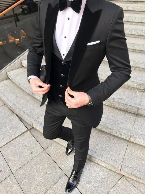 Adelice Slim Fit Suit – Black