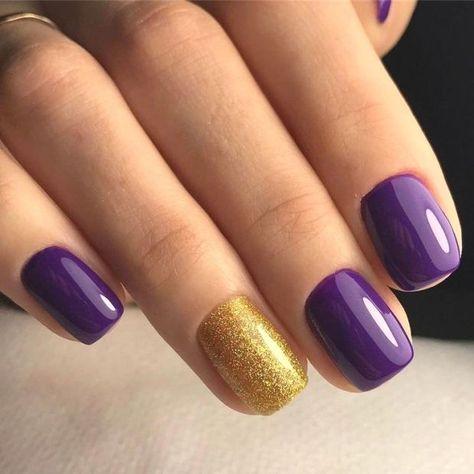 purple and gold nails purple nail … - Saver.
