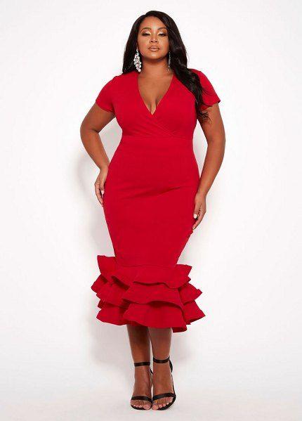Ashley Stewart Surplice Ruffle Hem Dress   Plus Size ...
