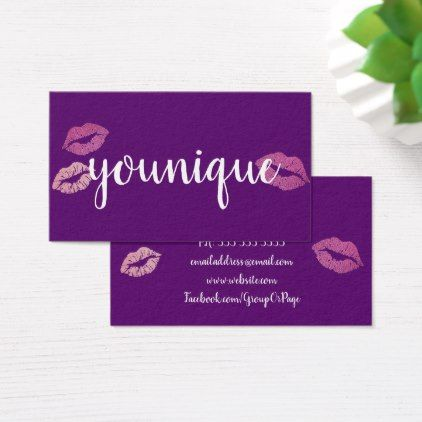 younique consultant lips purple business cards glitter glamour