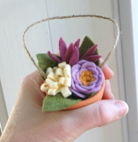 Mazzo Di Fiori Feltro.Feltro Fiore Bouquet Ornamento Piccoli Pot Di Argilla Di Fiori