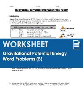 Worksheet - Gravitational Potential Energy (GPE) Word ...