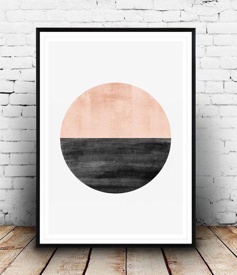 Minimalistische drucken, abstrakte Aquarell Kunst, Modern Art, Minimal Art, geometrische Kunst, Kreis drucken, nordischen Stil, Rosa Farbdruck, Home