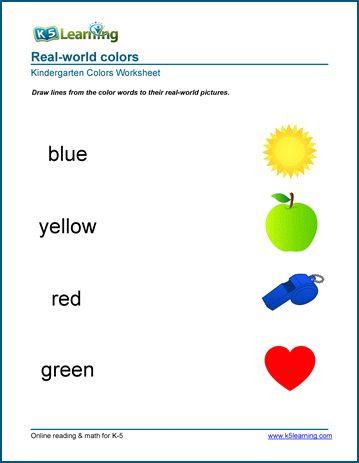 Colors Worksheets For Preschool Kindergarten K5 Learning Kindergarten Worksheets Color Worksheets For Preschool Color Worksheets