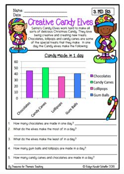 Christmas Math Data And Graph Worksheets Grade 3 Christmas Math Reading Graphs Graphing