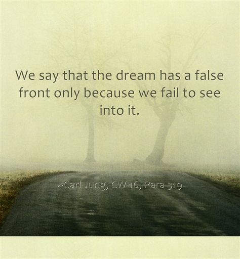We Say That The Dream Has A False Front Only Because We Fail To