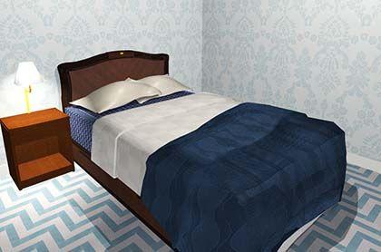 青系のベッドカバー 風水 寝室 模様替え 寝室