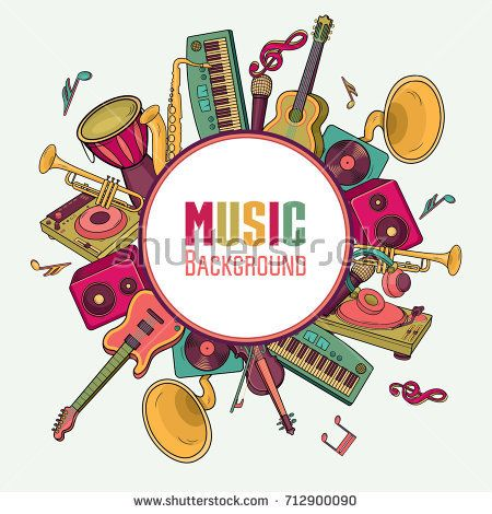 Colorful Music Background Music Instruments Music Festival Vector Illustration Music Backgrounds Vector Music Instruments