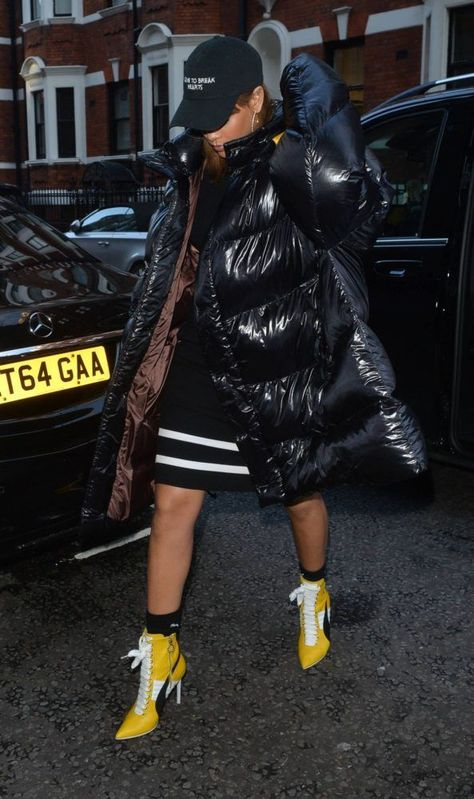 Splurge: Rihanna's Harrod's Raf Simons Black Down Oversized Coat and Fenty x Puma Fall 2016 Heeled Booties | The Fashion Bomb Blog | Bloglovin'