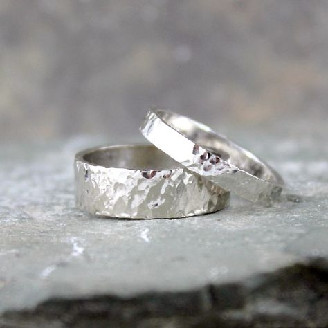 Hammered 14K White Gold Wedding Bands His and Hers by ASecondTime, $900.00