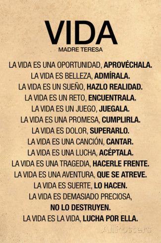 Vida por Madre Teresa Poema Plastic Sign Wall sign at AllPosters.com