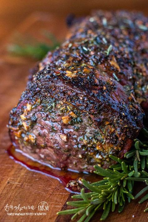 Garlic & Herb Beef Tenderloin Recipe This garlic and herb beef tenderloin recipe is easy to prepare, flavorful, and incredibly tender. Wow your holiday guests with this perfect beef tenderloin! Beef Tenderloin Marinade, Perfect Beef Tenderloin, Best Beef Tenderloin Recipe, Roasted Beef Tenderloin Recipes, Stuffed Beef Tenderloin, Beef Sirloin Tip Roast, Oven Roast Beef, Beef Fillet, Beef Steak