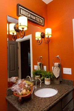 Orange You Glad That Cavern Clay Sw  Looks So Stunning In This Bathroom All About Orange Orange Paint Colors Pinterest Clay Bath And House
