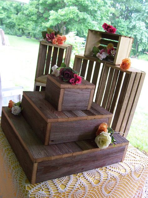 Cupcake stand crates BUNDLE rustic wedding decorations reception 3 Tier Cake Box Stand Barn wood country outdoor reception
