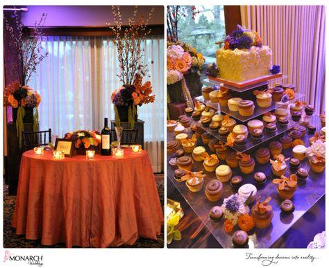 Lodge at Torrey Pines orange and purple wedding. Table number ...