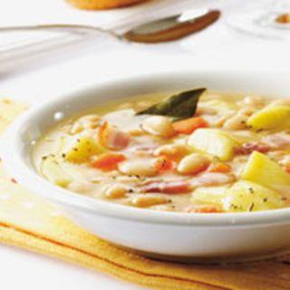 Soupe paysanne aux haricots blancs , facile et pas cher : recette sur Cuisine Actuelle