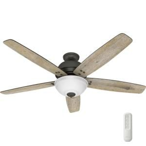 Hunter Reveille 60 In Led Indoor Noble Bronze Ceiling Fan With Light And Remote 54173 The Home Depot Ceiling Fan With Light Bronze Ceiling Fan Ceiling Fan