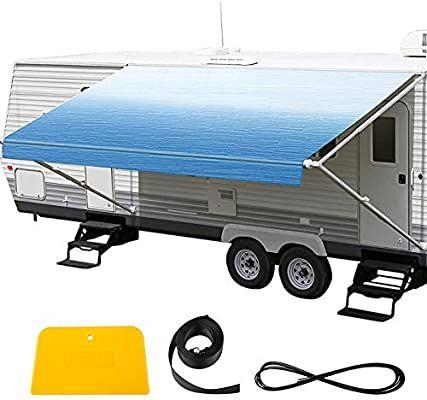 Amazon Com Vevor Rv Awning 16 Camper Awning Fabric Trailer Awning Canopy Patio Camping Car Awning Durable In 2020 Car Awnings Camper Awnings Rv Awning Replacement