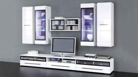 Diese Wohnwand von Loddenkemper bringt moderne Eleganz in Ihr - moderner wohnzimmerschrank mit glastüren und led beleuchtung
