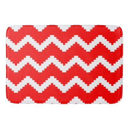 Abstract Geometric Pattern Red And White Bath Mat Zazzle Com