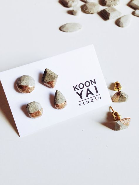 Items similar to Concrete Gem Mix and Match Set Silver, Copper, Gold-Dipped Stud Earrings Minimalist Earrings, Hypoallergenic, cement earrings on Etsy