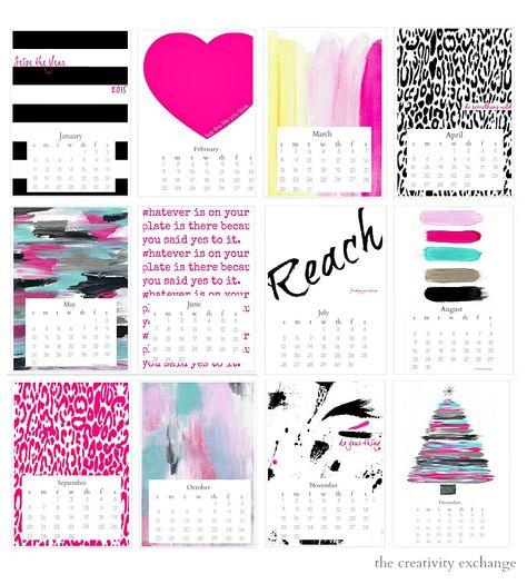 "Free printable 2015 ""Seize the Year"" Desktop Calendar. The Creativity Exchange"