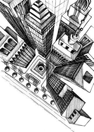 Vista Superior De Un Rascacielos De La Ciudad Dibujo Dibujo De Vista Aerea Vector De Stock Arte En Perspectiva Ciudad Dibujo Dibujos De Edificios