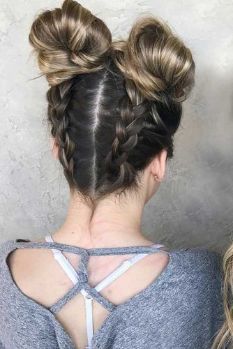 20 Super Cool Party Looks With Hair Buns Lovehairstyles Com Bun Hairstyles Long Bob Hairstyles Space Hair