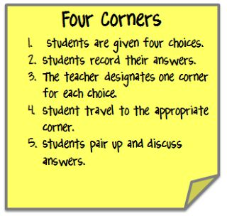 Go Green with Cooperative Learning by using the Four Corners strategy.
